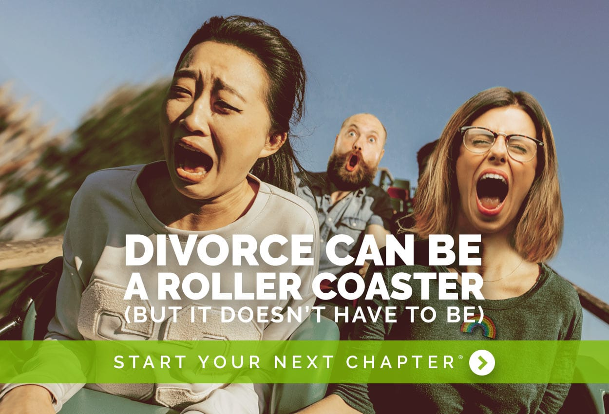 Main photo for the website of Chandler divorce attorney Joan Bundy. Shows three people in a roller coaster.